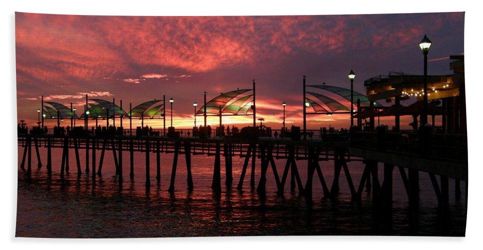 Redondo Beach Pier Beach Towel featuring the photograph Redondo Beach Pier At Sunset by Bev Conover