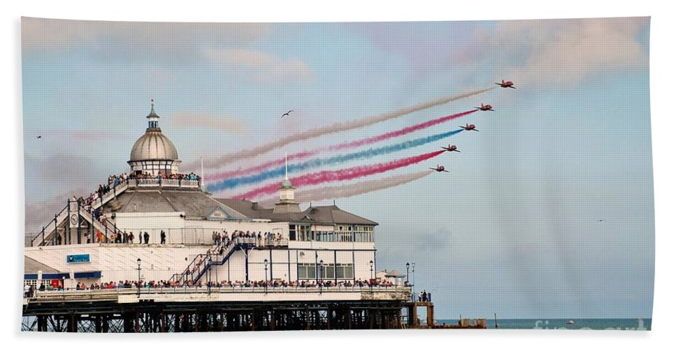 Red Beach Towel featuring the photograph Reds Over Eastbourne Pier by David Fowler