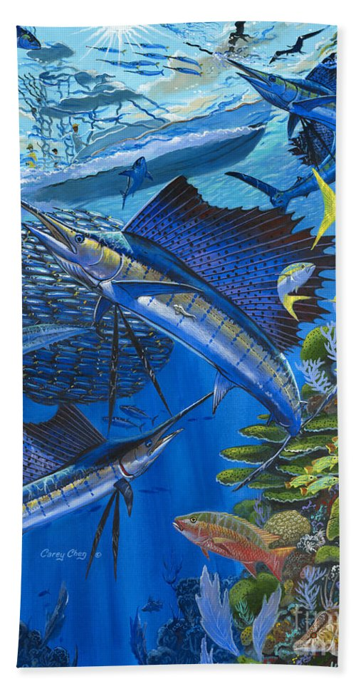 Ballyhoo Beach Towel featuring the painting Reef Frenzy OFF00141 by Carey Chen