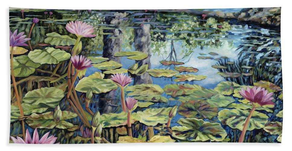 Lilly Pond Beach Towel featuring the painting Reflecting Pond by Danielle Perry