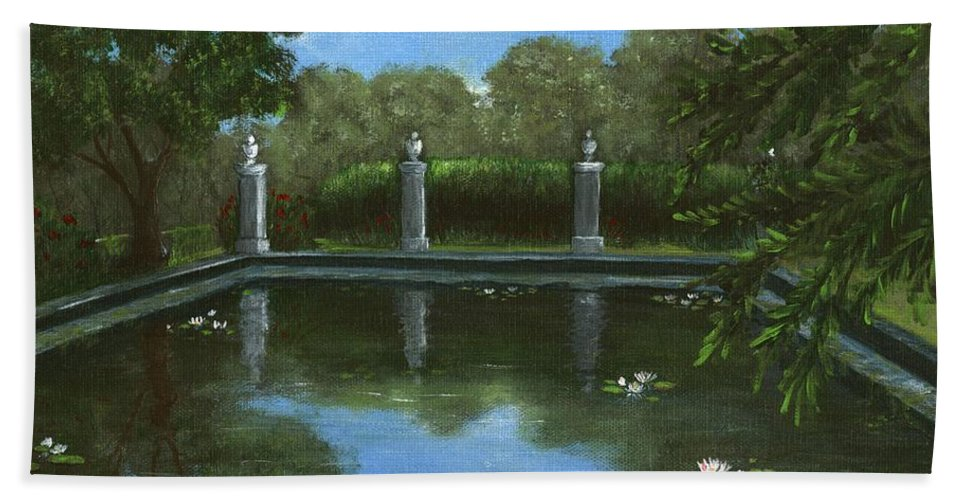 Interior Beach Towel featuring the painting Reflecting Pool by Anastasiya Malakhova