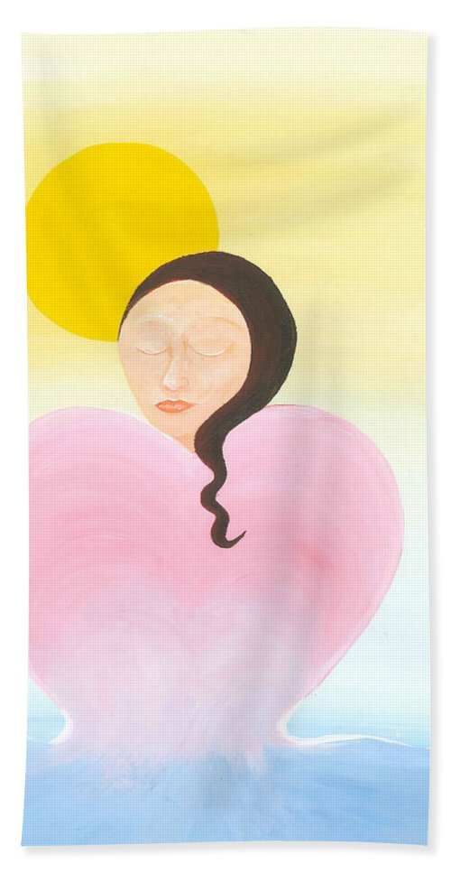 Melting Heart Beach Towel featuring the painting Reflection by Catt Kyriacou
