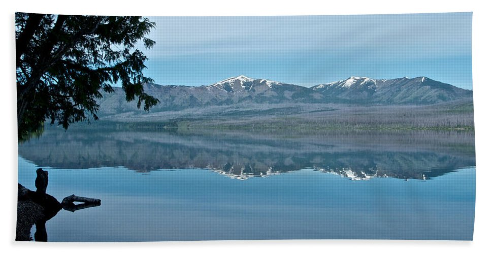 Reflection In Lake Mcdonald Beach Towel featuring the photograph Reflection In Lake Mcdonald In Glacier National Park-montana by Ruth Hager