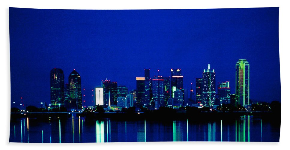 Dallas Beach Towel featuring the photograph Reflection Of Dallas by David and Carol Kelly