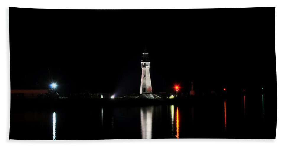 Reflection Beach Towel featuring the photograph Reflections At The Erie Basin Marina by Michael Frank Jr