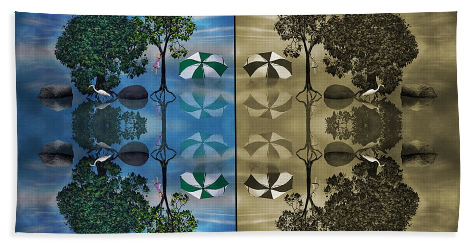 Tree Beach Towel featuring the digital art Reflections by Betsy Knapp