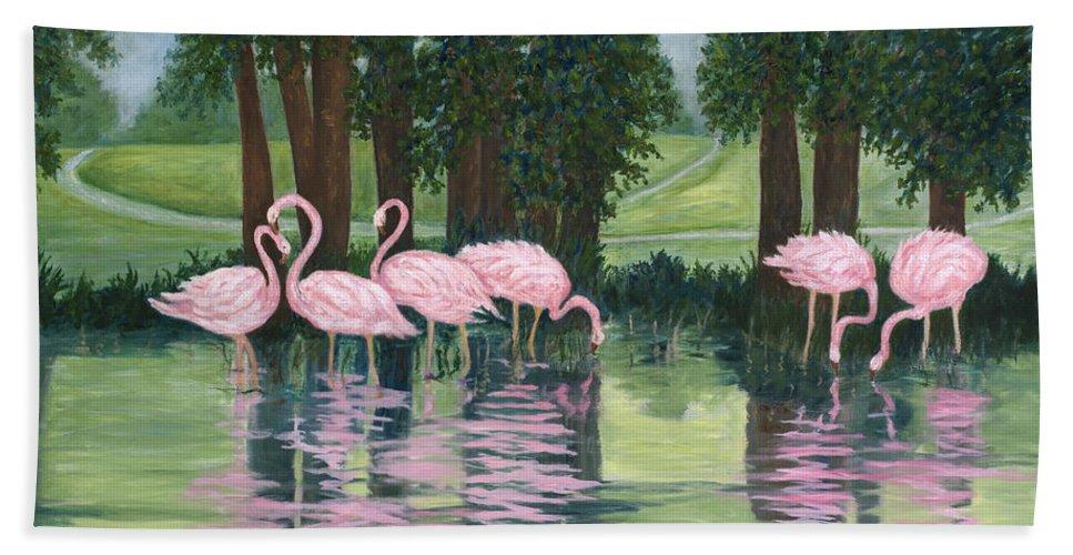 Karen Zuk Rosenblatt Art And Photography Beach Towel featuring the painting Reflections In Pink by Karen Zuk Rosenblatt
