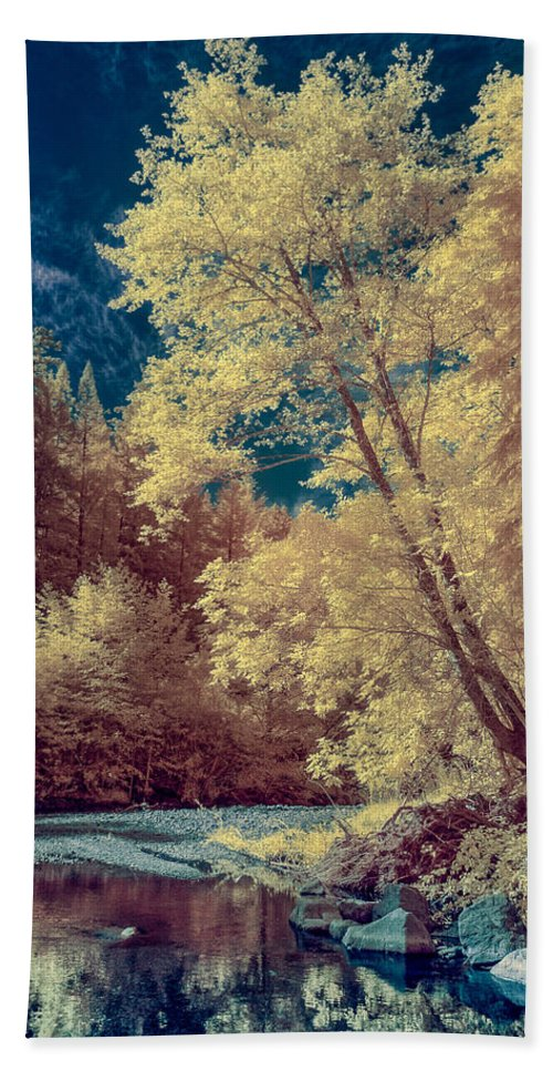 Infrared Beach Towel featuring the photograph Reflections On Bull Creek by Greg Nyquist