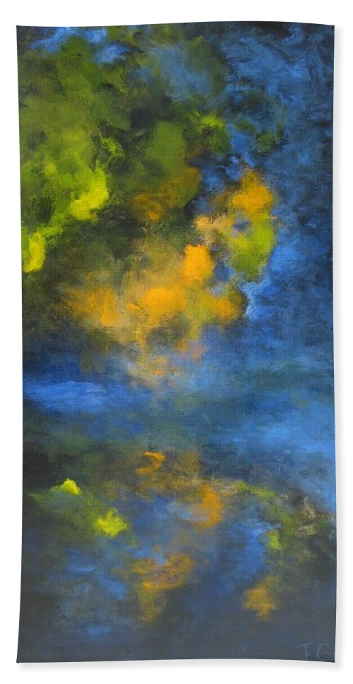 Tree Beach Towel featuring the painting Reflets - Reflections by France Gionet