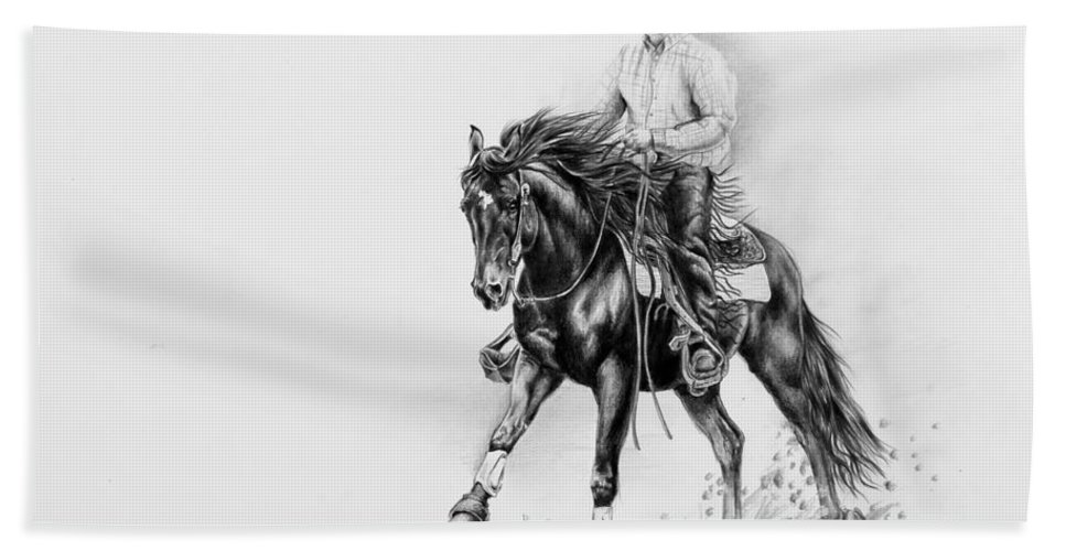 Appaloosa Beach Towel featuring the drawing Reining by Art Imago