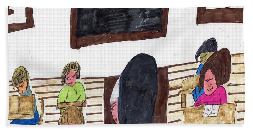Nun Teaching Children Beach Towel featuring the mixed media Remember When Teachers Were Nuns by Elinor Helen Rakowski
