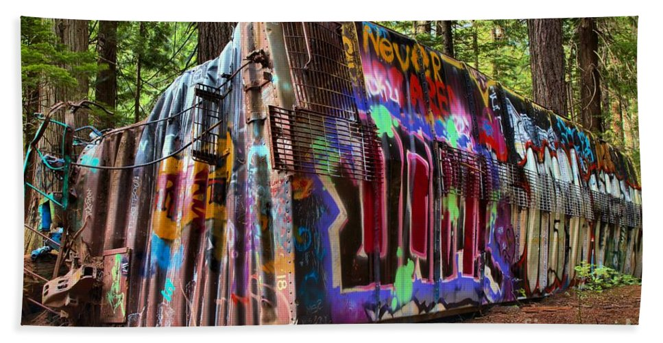 Train Wreck Beach Towel featuring the photograph Remnants Of The Whister Train Wreck by Adam Jewell