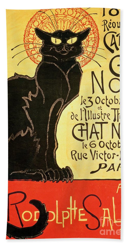 Paris Beach Towel featuring the painting Reopening Of The Chat Noir Cabaret by Theophile Alexandre Steinlen