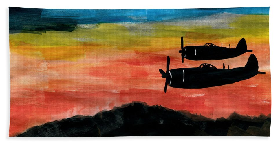 Republic P-47 Thunderbolt P-47d P47 Jug Fighter Aircraft Prop Propeller Piston Engine Warbird Wwii Ww2 Bomber Pratt & Whitney R-2800 Double Wasp Escort Usaaf United States Army Air Force Squadron Art Artwork Kyllo Painting Watercolor Watercolour Plane Airplane Planes Silhouette Sundown Sunset Twilight Night Evening Dark Flight Antique Aviation Historic Outdoors Outdoor Aviator Manly Masculine Male Rugged Warbirds Beach Towel featuring the painting Republic P-47 Thunderbolts by R Kyllo