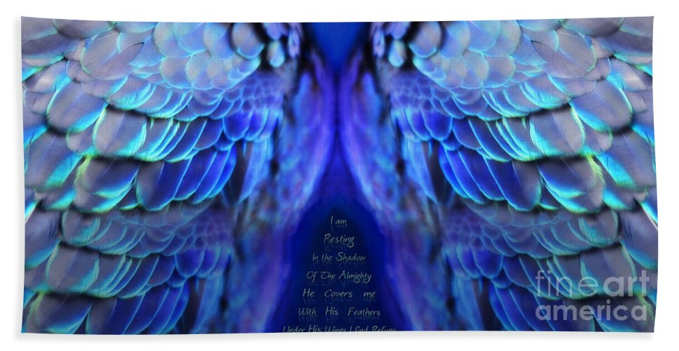 Wings Beach Towel featuring the digital art Psalm 91 Wings by Constance Woods