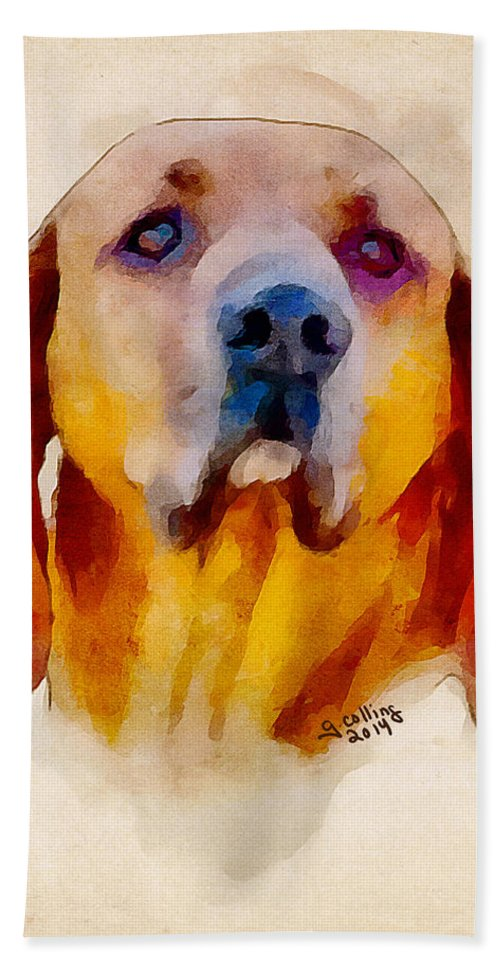 Dog Beach Towel featuring the painting Retriever by Greg Collins