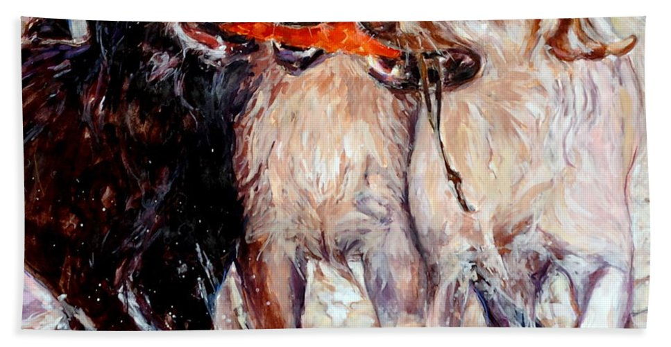 Dogs Retrieving Beach Towel featuring the painting Retrieving Fools by Molly Poole