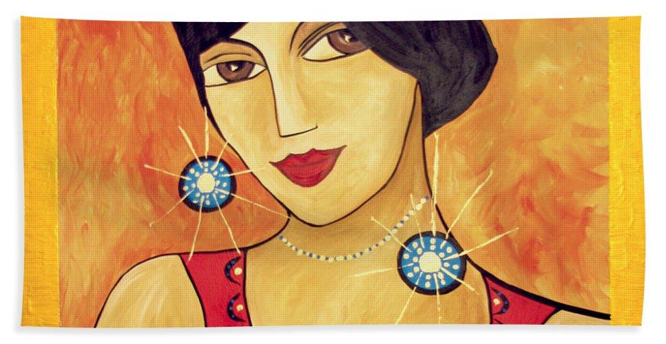 Woman Beach Towel featuring the painting Retro 113 - Marucii by Marek Lutek