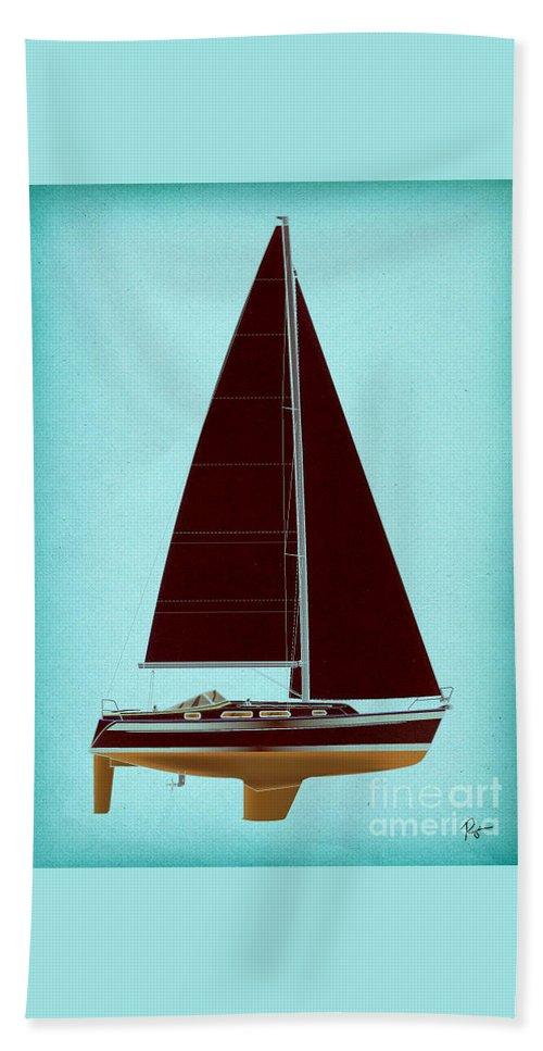 Regina Gallant Beach Towel featuring the drawing Retro Blue Sailing by Regina Marie Gallant