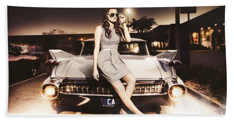 Retro Sixties Pinup Girl On Vintage Car Beach Sheet for Sale by ...