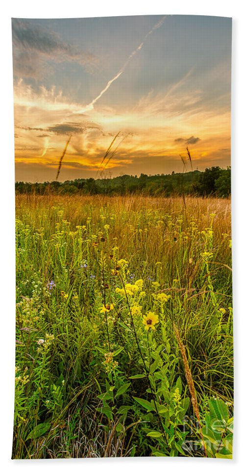 Clouds Beach Towel featuring the photograph Retzer Wildflower Sunset by Andrew Slater