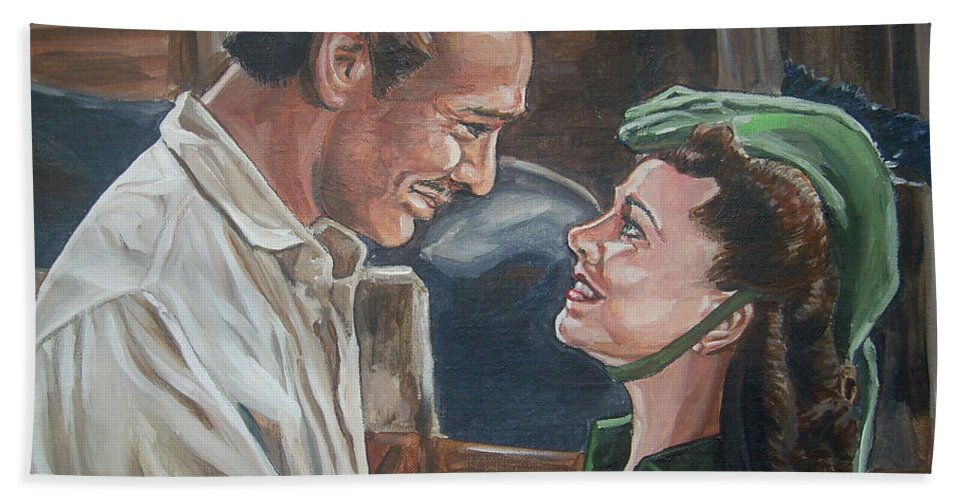 Gone With The Wind Beach Towel featuring the painting Rhett And Scarlett by Bryan Bustard