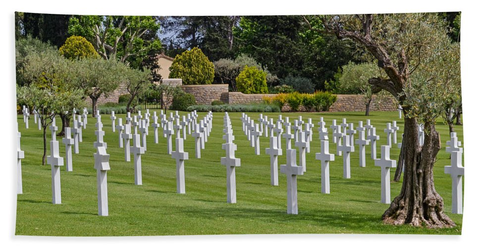 Veterans Beach Towel featuring the photograph Rhone American Cemetery by Allen Sheffield