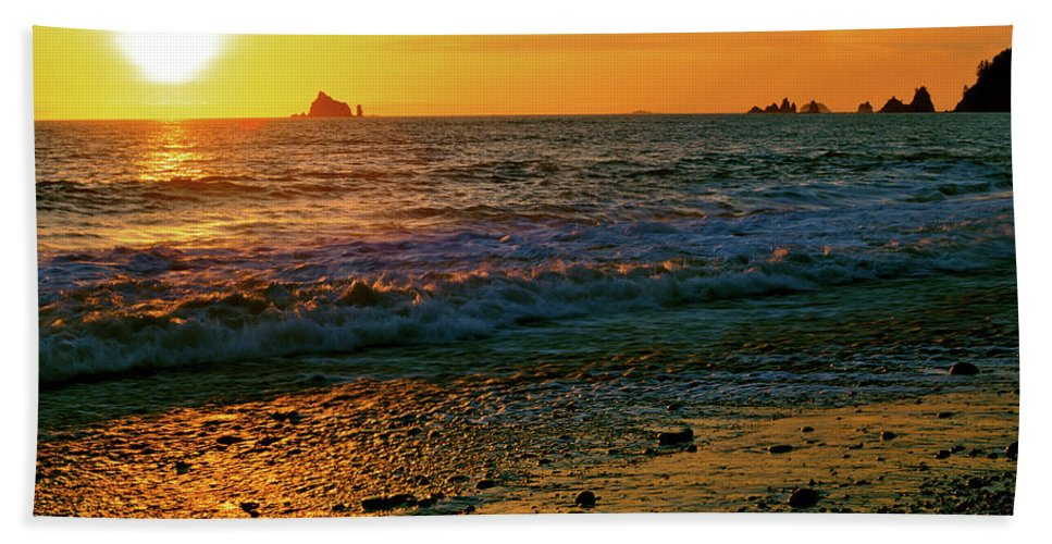 Pacific Northwest Beach Towel featuring the photograph Rialto Beach Sunset Olympic National Park by Ed Riche