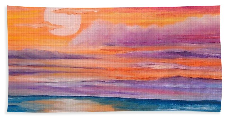 Sunset Beach Towel featuring the painting Ribbons In The Sky by Holly Martinson