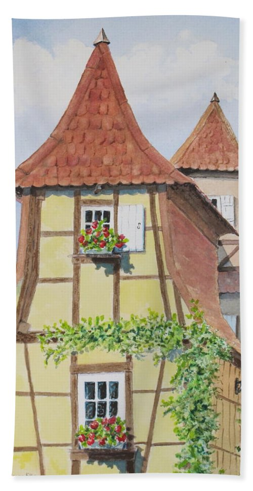 Europe Beach Towel featuring the painting Ribeauville Village in Alsace by Mary Ellen Mueller Legault