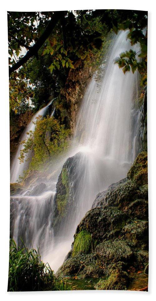 Rifle Falls Beach Towel featuring the photograph Rifle Falls by Priscilla Burgers