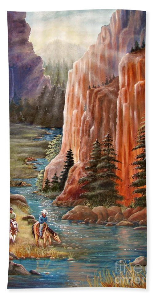 Western Beach Towel featuring the painting Rim Canyon Ride by Marilyn Smith