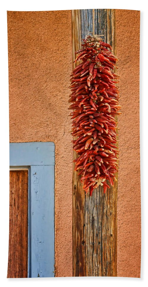 Chile Ristra Beach Towel featuring the photograph Ristra And Door by Nikolyn McDonald