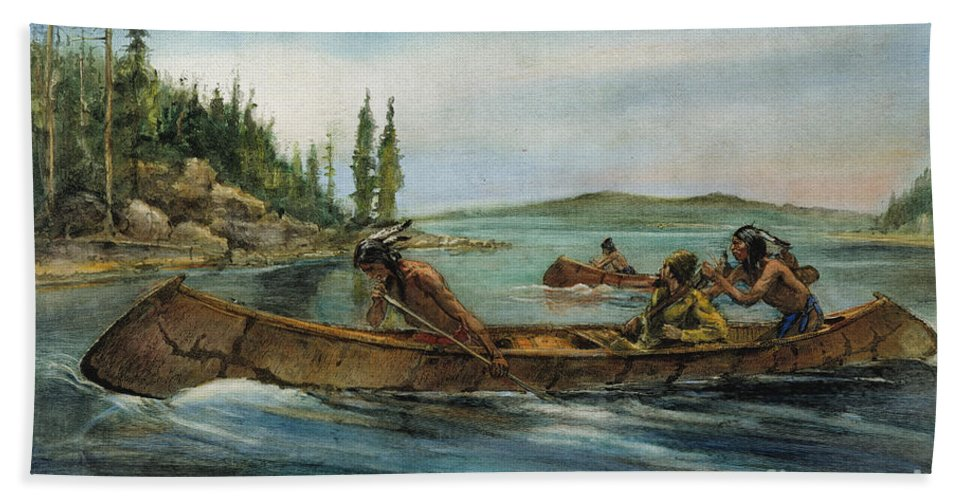 19th Century Beach Towel featuring the painting Rival Fur Traders by Granger