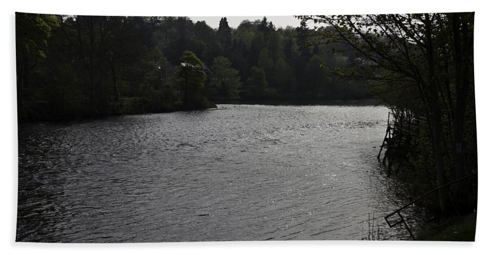 Flowing River Beach Towel featuring the photograph River Ness Near The Ness Islands In Inverness In Scotland by Ashish Agarwal
