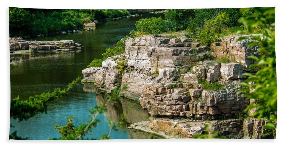 River Beach Towel featuring the photograph River Through The Rocks by Shari Brase-Smith