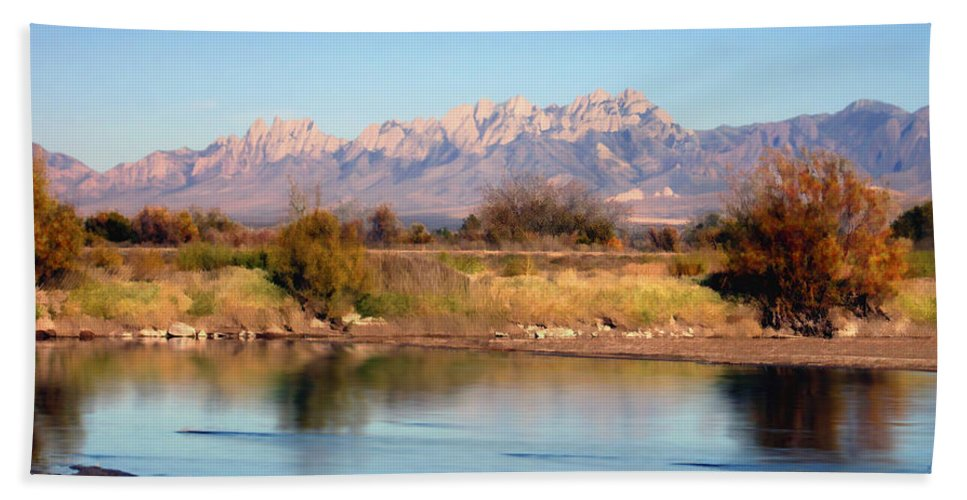 Las Cruces Beach Towel featuring the photograph River View Mesilla Panorama by Kurt Van Wagner