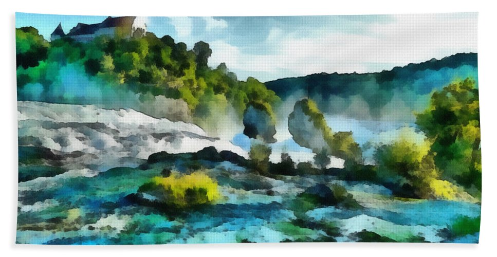 River Beach Towel featuring the painting Riverscape by Inspirowl Design