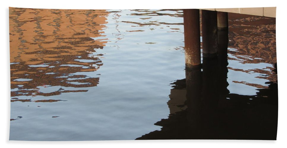 Water Beach Towel featuring the photograph Riverwalk Low View Refections by Anita Burgermeister