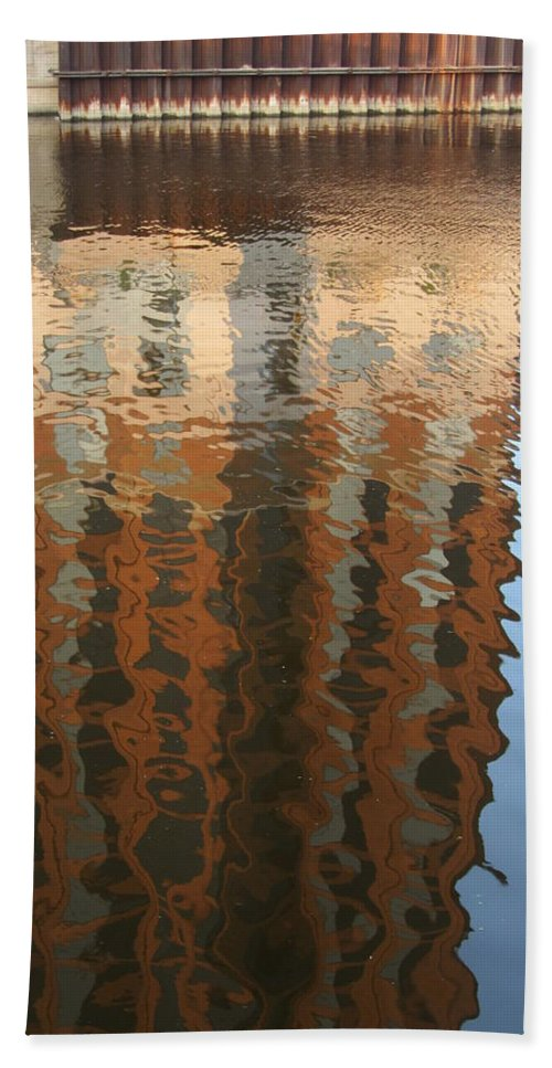 Milwaukee Beach Towel featuring the photograph Riverwalk Reflection by Anita Burgermeister