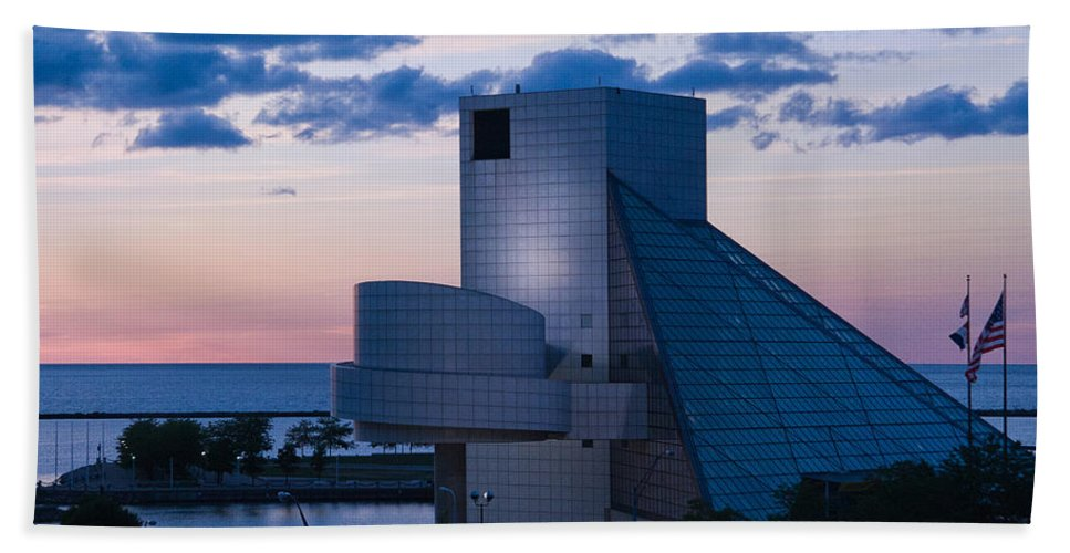 Rock And Roll Hall Of Fame Beach Towel featuring the photograph Rock And Roll Hall Of Fame by Dale Kincaid
