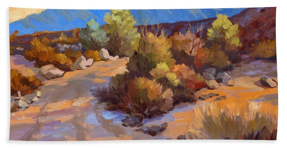 Rock Cairn At La Quinta Cove Beach Towel featuring the painting Rock Cairn At La Quinta Cove by Diane McClary