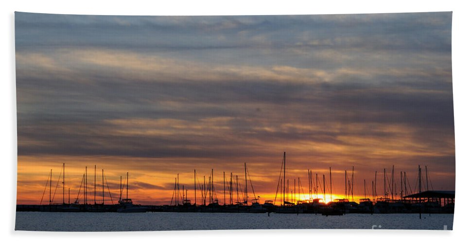 Rock Hall Beach Towel featuring the photograph Rock Hall Sunset I by Cindy Roesinger