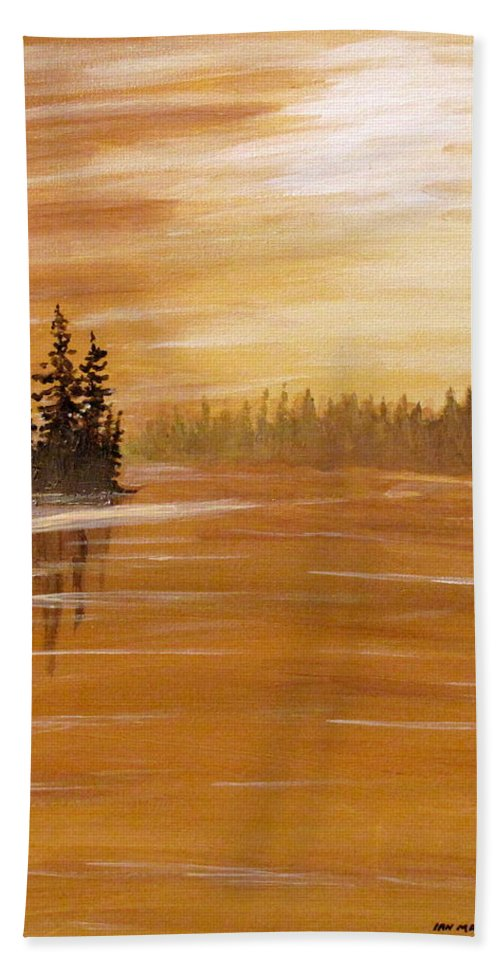 Northern Ontario Beach Towel featuring the painting Rock Lake Morning 1 by Ian MacDonald