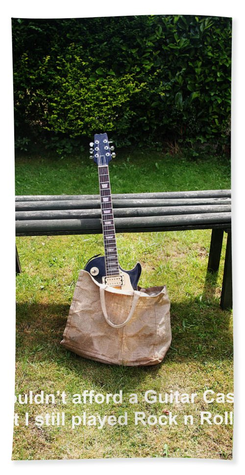 Guitar Beach Towel featuring the photograph Rock n Roll Guitar in a bag by Tom Conway
