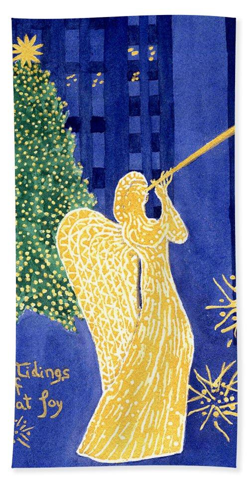 Rockefeller Beach Towel featuring the painting Rockefeller Angel by Rhonda Leonard