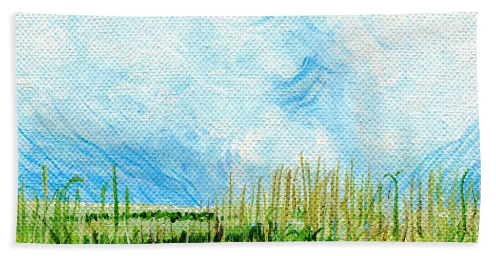 Marsh Beach Towel featuring the painting Rockefeller Coastal Marsh Louisiana by Lizi Beard-Ward