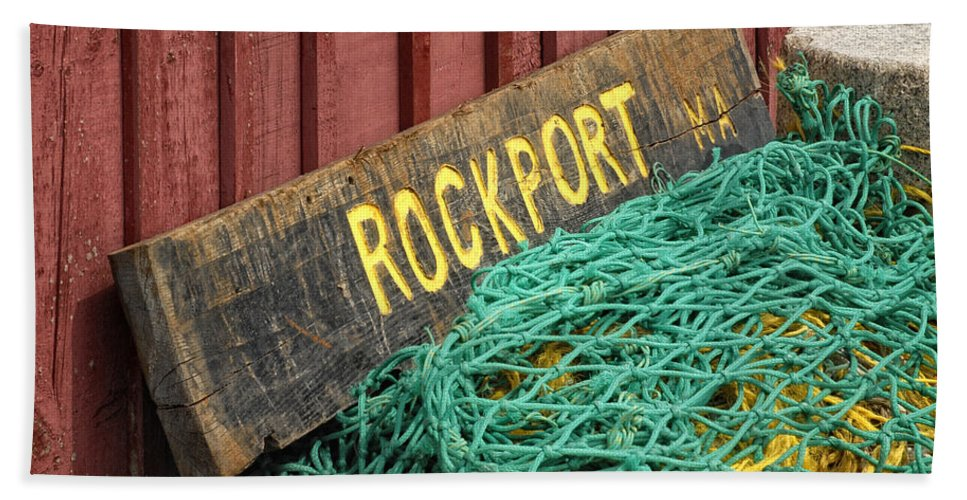 Sign Beach Towel featuring the photograph Rockport by Claudia Kuhn