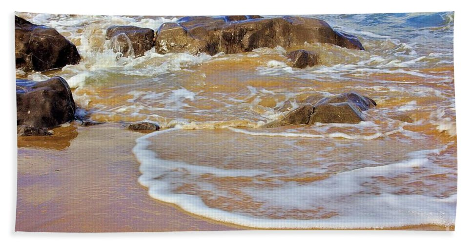 Beach Beach Towel featuring the photograph Rocks And Waves by Jeremy Hayden
