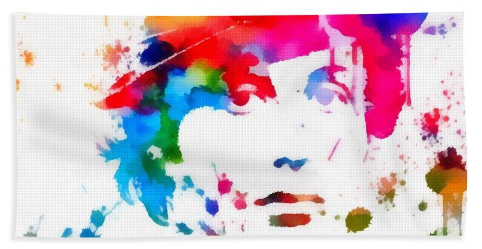 Rocky Balboa Paint Splatter Beach Sheet featuring the painting Rocky Balboa Paint Splatter by Dan Sproul